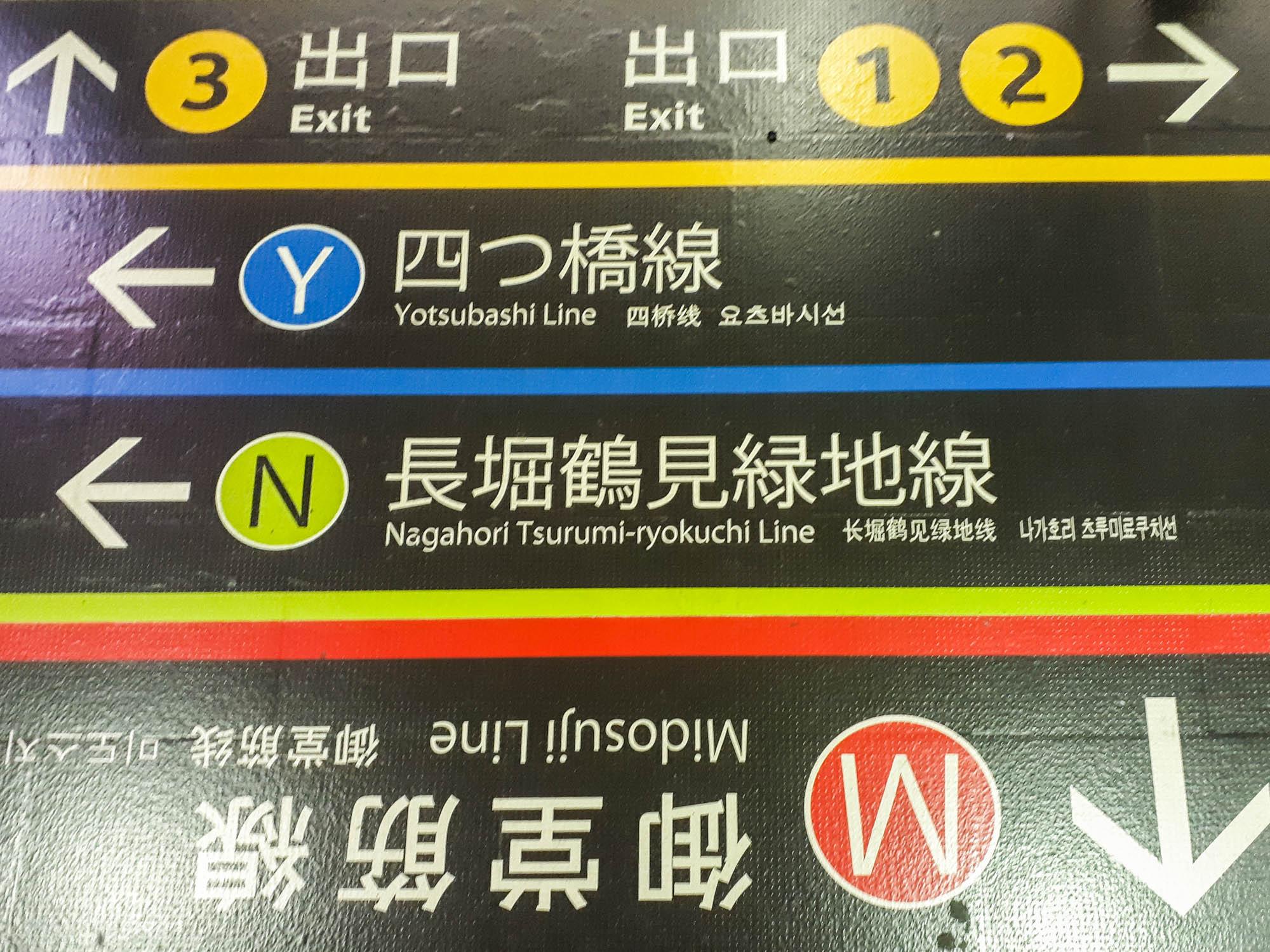 Indications sur le sol pour le métro