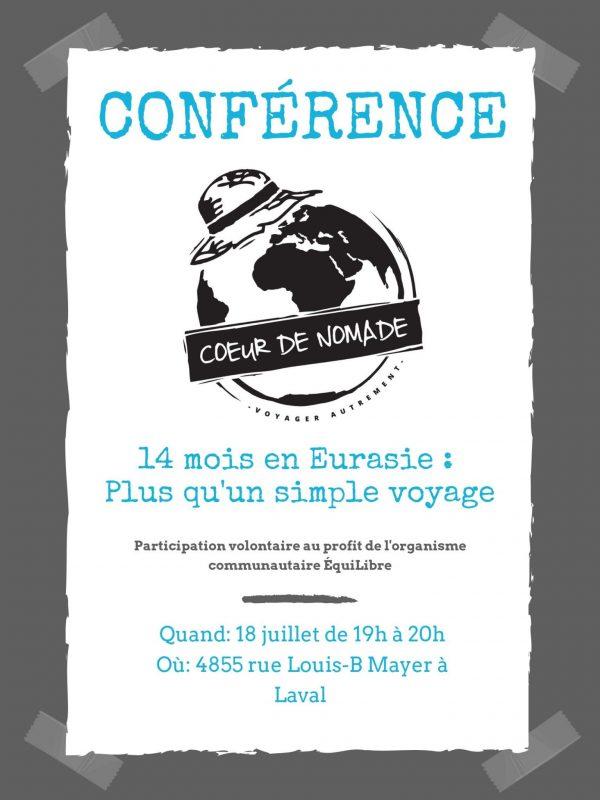Conférence à Laval le 18 juillet